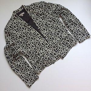 Roz & Ali | black cream geometric print blazer XL